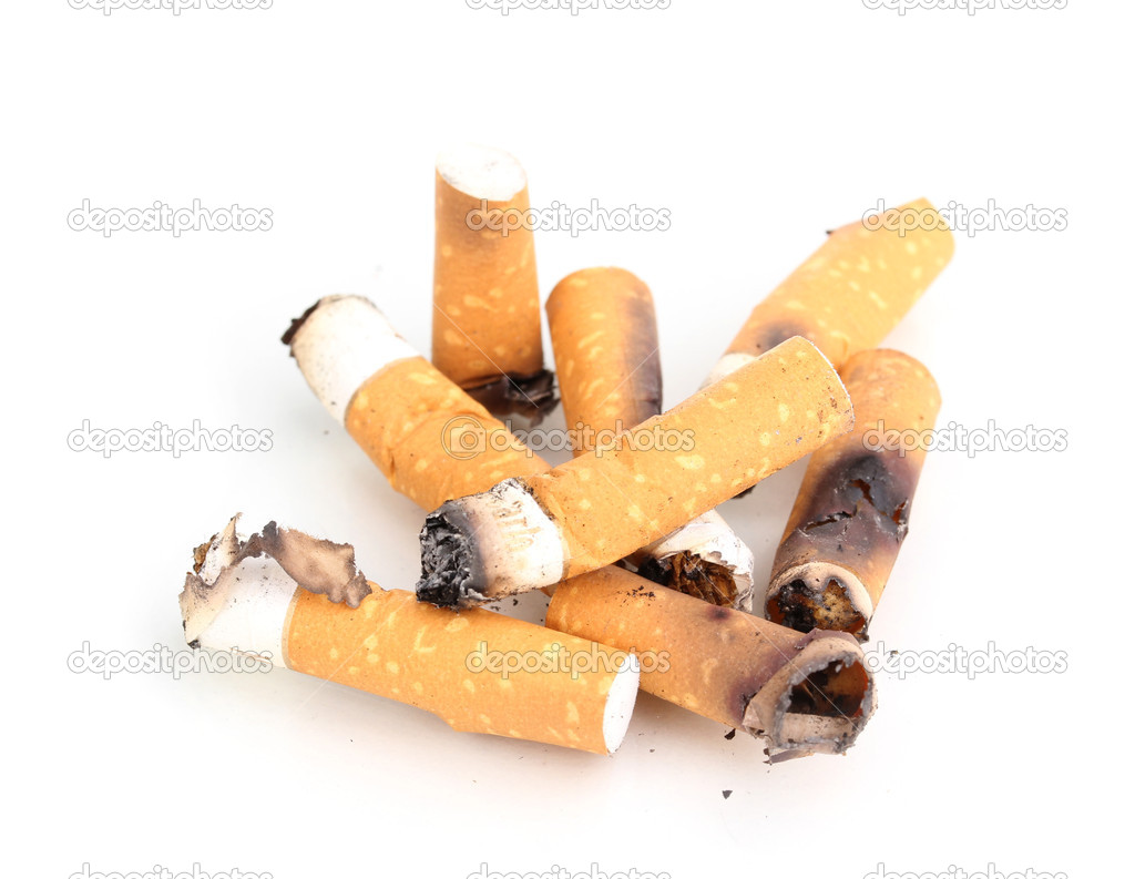Cigarette butts isolateed on white — Stock Photo #9659792