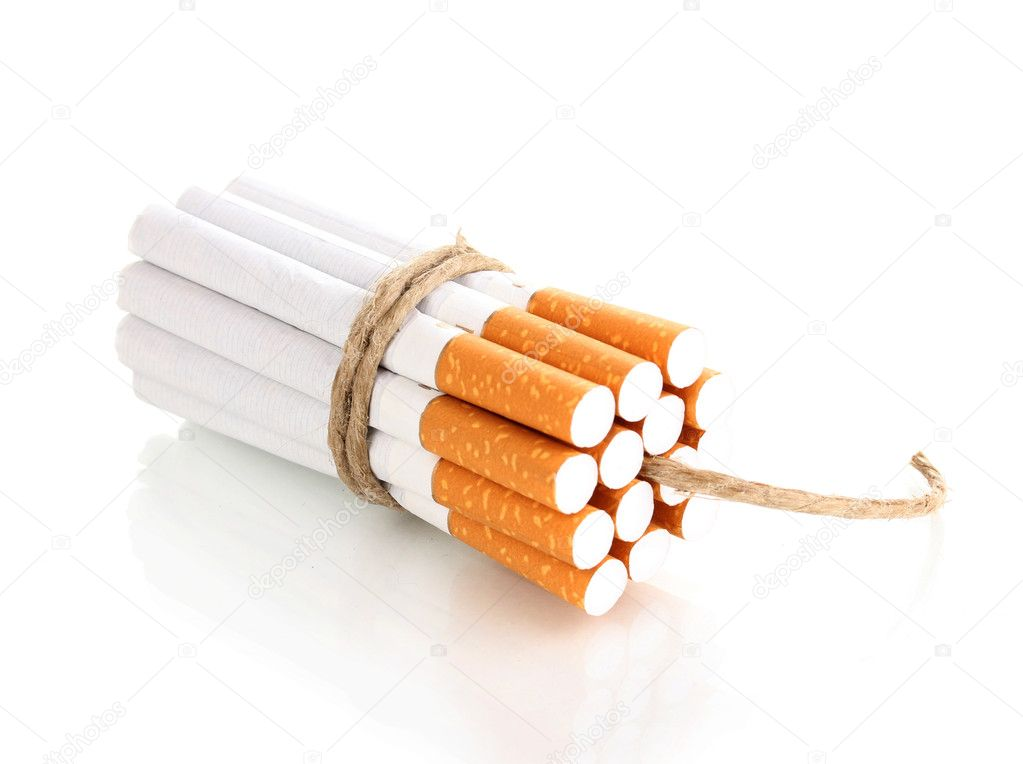 Cigarettes tied with rope and wick isolateed on white — Stock Photo #9659805
