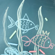 Two fishes, сhild's drawing with chalk — Stockfoto