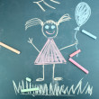 Little girl, child's drawing with chalk — Stock Photo