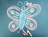 Butterfly, child's drawing with chalk — Stock Photo
