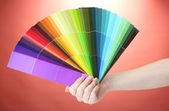 Mano che tiene la brillante tavolozza di colori su sfondo rosso — Foto Stock