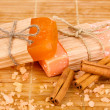 Hand-made natural soaps on wooden mat — Stok fotoğraf