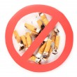 Stock Photo: Cigarette butts with prohibition sign isolateed on white