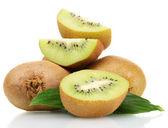 Juicy kiwi fruits with leaves isolated on white — Stock Photo