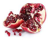 Ripe pomegranate fruit isolated on white — Stock Photo