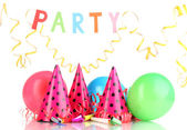 Party items isolated on white — Stock Photo
