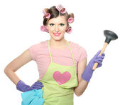 Beautiful young housewife isolated on white — Stock Photo