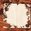 Old paper for recipes and spices on wooden table — Stock Photo