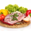 Raw meat and vegetables on a wooden board isolated on whitе — Stock Photo