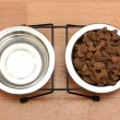 Stock Photo: Dry dog food and water in metal bowls on the floor
