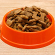 Dry dog food in orange bowl on wooden background — Stock Photo #9695026