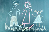 Happy family, child's drawing with chalk — Stock Photo