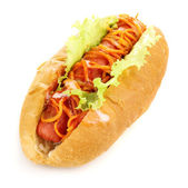 Appetizing hot dog isolated on white — Stock Photo