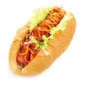 Appetizing hot dog isolated on white — Stok fotoğraf