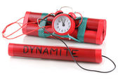 Timebomb made of dynamite isolated on white — Stock Photo