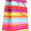 Striped gift bag isolated on white — Stock Photo #9702836