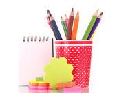 Vidro vermelho com lápis coloridos e papelaria isolado no branco — Fotografia Stock