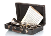 Old trumpet and notebook with notes in case isolated on white — Stock Photo