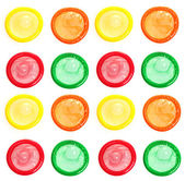 Colorful condoms isolated on white — Stock Photo