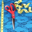 Scissors, measuring tape and pattern on fabric isolated on white - Stock Photo
