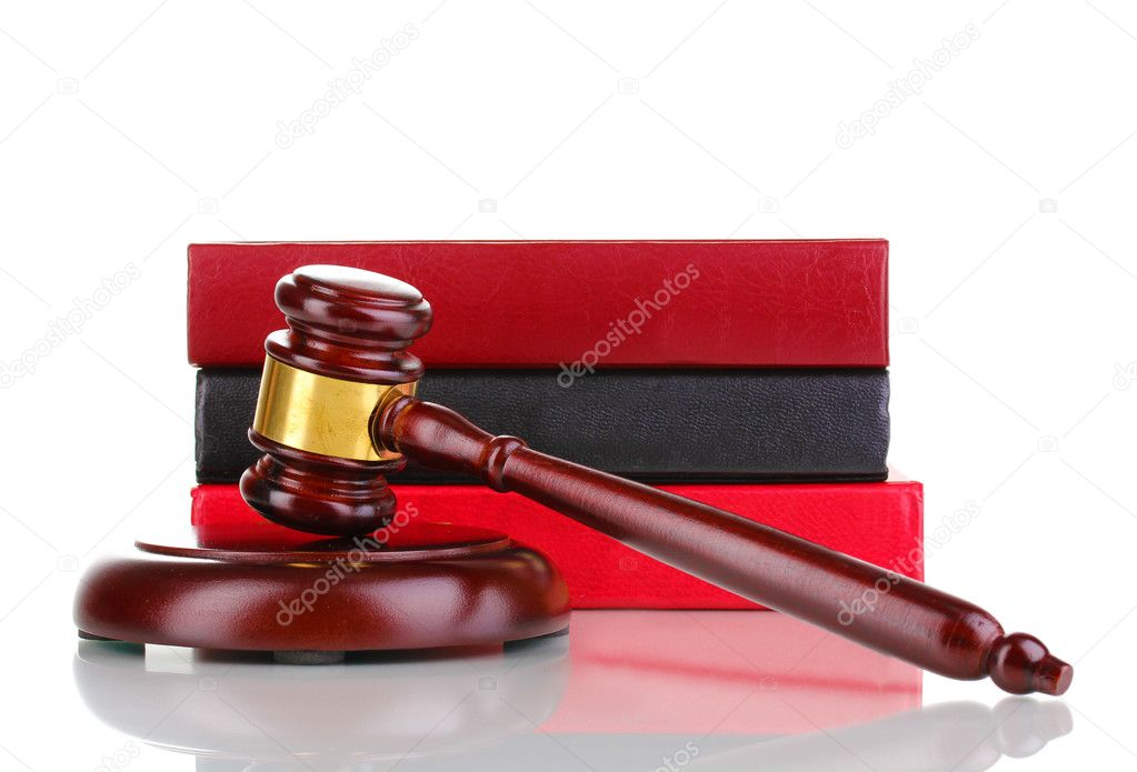 Judge's gavel and books isolated on white  Stock Photo #9743574