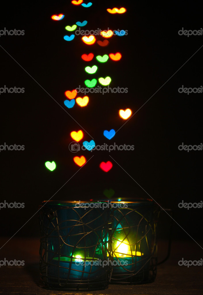 Beautiful candle and decor  on wooden table on bright background  Stock Photo #9743622