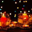 Wonderful composition of candles on wooden table on bright background — Stock Photo #9758189