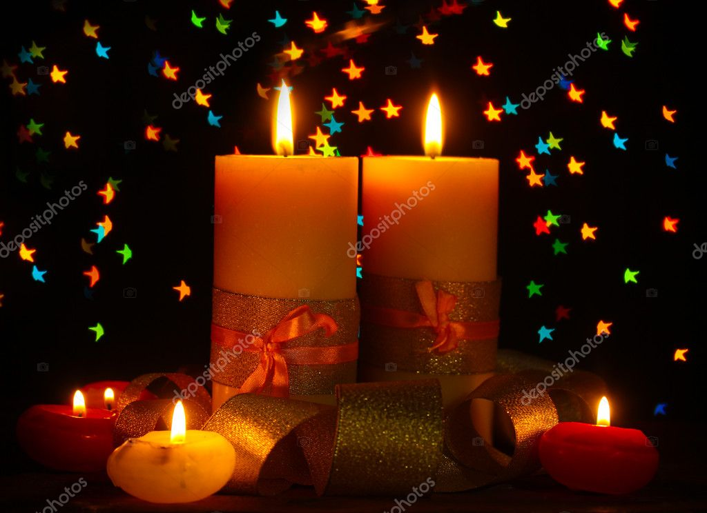 Beautiful candle and decor  on wooden table on bright background — Stock Photo #9758131