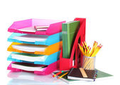 Bright paper trays and stationery isolated on white — Stock Photo