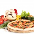 Delicious pizza, vegetables, spices and oil isolated on white — Stock Photo #9782226