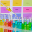 Test-tubes with color liquid and pipette on color samples background — Stockfoto