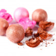 Pink and brown powder balls isolated on white — Stock Photo