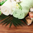 Spa setting on wooden background — Stock Photo