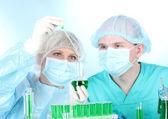 两位科学家在化学实验室工作 — 图库照片