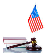 Judge gavel, books and american flag isolated on white — Stock Photo