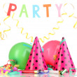 Stock Photo: Party items isolated on white