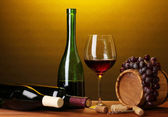 In wine cellar. Composition of wine bottles and runlet — Stock Photo