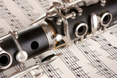 Close up detail of clarinet and notebook with notes — Stock Photo