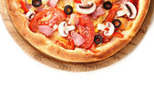 Tasty pizza close-up isolated on white — Stock Photo
