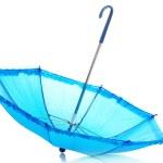 Blue umbrella isolated on white — Stock Photo #9848363