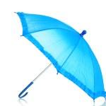 Blue umbrella isolated on white — Stock Photo