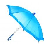 Blue umbrella isolated on white — Stock Photo #9848370
