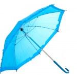 Blue umbrella isolated on white — Stock Photo #9848372