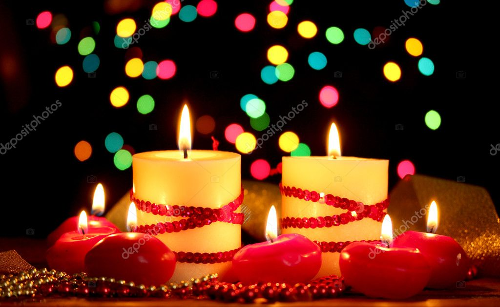 Beautiful candles and decor on wooden table on bright background — Stock Photo #9847956