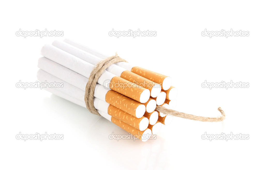 Cigarettes tied with rope and wick isolateed on white  Stock Photo #9848645