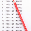 Yes, no or maybe cheklist close-up — Stock Photo #9875272