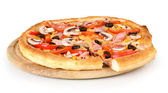 Sliced pizza close-up isolated on white — Stock Photo