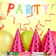 Stock Photo: Party items on green background