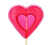 Red heart-lollipop isolated on white — Stock Photo